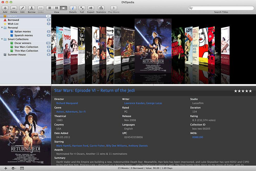 DVDpedia 6.1.0 Mac 破解版 DVD电影收藏管理器